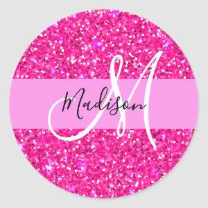 Glam Girly Hot Pink Glitter Sparkles Name Monogram Classic Round Sticker