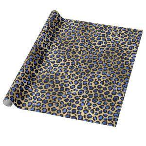 Glam Gold and Royal Blue Leopard Print Wrapping Paper