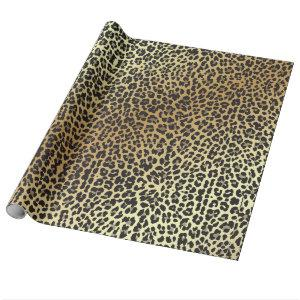 Glam Leopard Print and Faux Gold Foil Wrapping Paper
