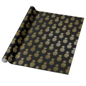 Glam Tropical Faux Gold Pineapple On Black Wrapping Paper