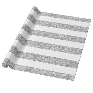 Glamor White Stripes with Silver Glitter Printed Wrapping Paper