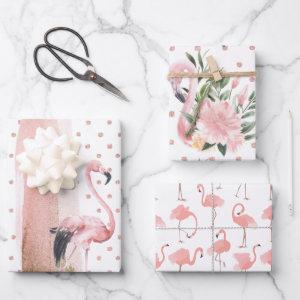 Glamorous Girly Pink Flamingo Patterns Wrapping Paper Sheets
