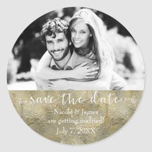 Glamour Chic Gold Faux Foil Save The Date Photo Classic Round Sticker