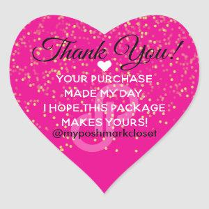 Glitter Poshmark Thank You Heart Sticker