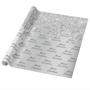 Glitter silver sparkle foil Christmas Xmas Wrapping Paper