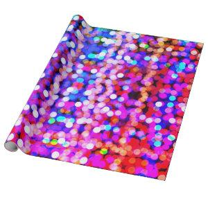 Glittery Pink Purple Multicolor Bokeh Patterns Wrapping Paper