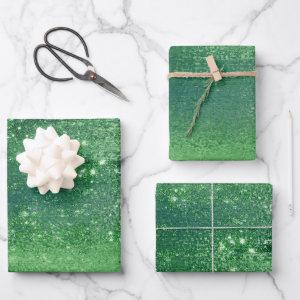 Glitzy Minimalism | Neo Mint Green Glitter Sparkle Wrapping Paper Sheets