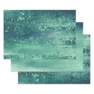 Glitzy Minimalist   Iridescent Green Shimmer Wrapping Paper Sheets