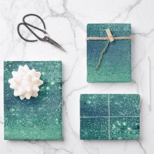 Glitzy Minimalist | Iridescent Green Shimmer Wrapping Paper Sheets