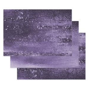 Glitzy Minimalist | Violet Purple Sparkle Glitter Wrapping Paper Sheets
