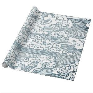 """Glossy Wrapping Paper, 30"""" x 6' JAPANESE CLOUDS Wrapping Paper"""
