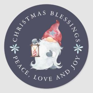 Gnome Christmas Blessings Peace Love Joy Classic Round Sticker