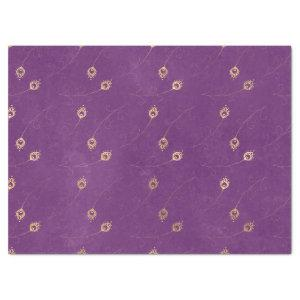 Gold Abstract Eye of Peacock Feathers on Purple Tissue Paper