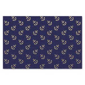 Gold Anchors Navy Blue Background Pattern Tissue Paper