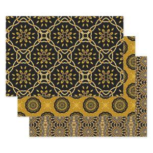 Gold and Black Arabesque Mosaic Geometric Patterns Wrapping Paper Sheets