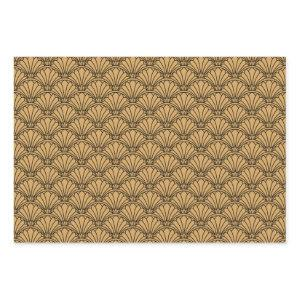Gold and Black Art Deco Fan Flowers Motif Wrapping Paper Sheets