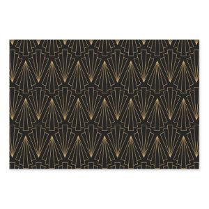 Gold and Black Art Deco Pattern Wrapping Paper Sheets