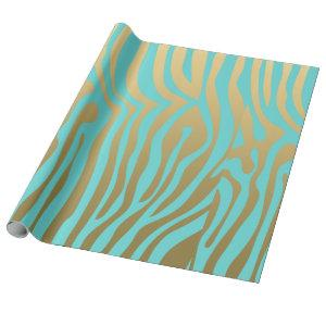 Gold and Blue Zebra Stripes Pattern Wrapping Paper