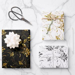 Gold and Silver Floral Pattern Wrapping Paper Sheets