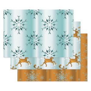 Gold and Teal Christmas Wrapping Paper Sheets