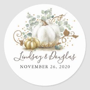 Gold and White Pumpkin Fall Wedding Classic Round Sticker