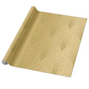 Gold art-deco pattern on gold background wrapping paper