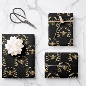 Gold Bee On Black Wrapping Paper Sheets