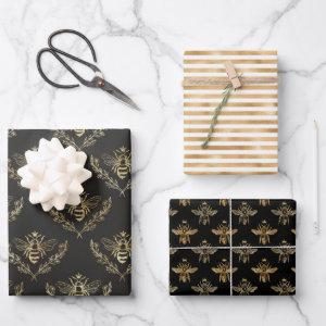 gold black apiary queen bee wrapping paper sheets