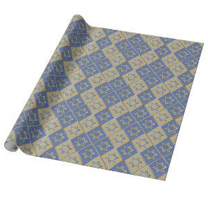 Gold Blue Star of David Art Panels Wrapping Paper