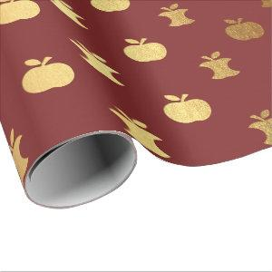 Gold Burgundy Red Wine Metallic Apple Bordeaux Wrapping Paper