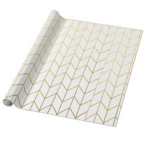 Gold Chevron White Background Modern Chic Wrapping Paper