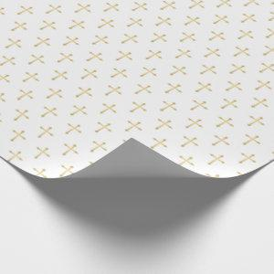 Gold Christian Crosses on White Wrapping Paper