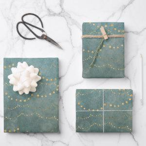 Gold Christmas Lights Green Watercolor Holiday Wrapping Paper Sheets