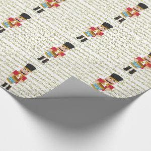 Gold Christmas Little Drummer Boy Wrapping Paper