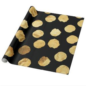 Gold Dots Faux Foil Metallic Black Background Wrapping Paper