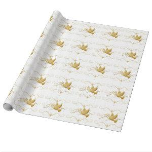 Gold dove peace wrapping paper