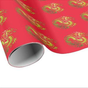 Gold Dragon on Bright Red Patterned Gift Wrap