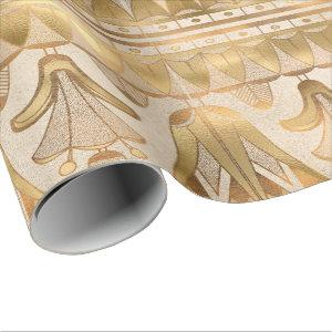 Gold Egyptian Hieroglyphics Antique Flowers Wrapping Paper