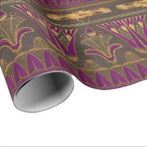 Gold Egyptian Hieroglyphics Papyrus Scarab Floral Wrapping Paper
