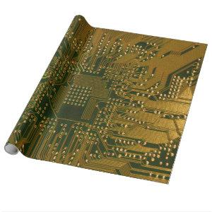 Gold Electronics Circuit Board Wrapping Paper