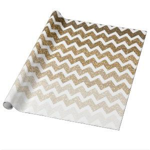 Gold Faux Glitter Chevron Ombre Wrapping Paper