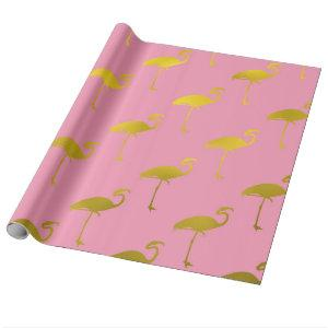 Gold Flamingo Faux Metallic Foil Tropical Flamingo Wrapping Paper