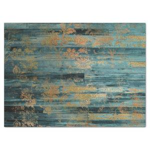 Gold Floral and Blue Rustic Wood Decoupage Tissue Paper