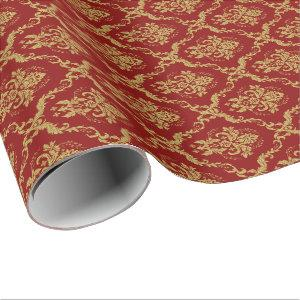Gold Floral Damasks Pattern Red Background Wrapping Paper