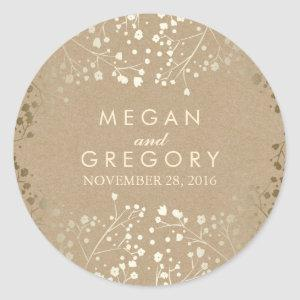Gold Foil Effect Baby's Breath Kraft Wedding Classic Round Sticker