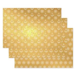 Gold Foil Nautical Patterns Foil Wrapping Paper Sheets