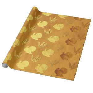 Gold Foil Thanksgiving Wrapping Paper