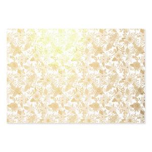 Gold Foil & White Floral Patterns Foil Wrapping Paper Sheets