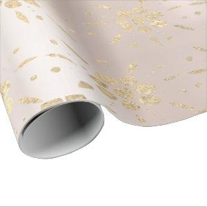 Gold Foxier Oriental Floral Confetti Pearly Blush Wrapping Paper