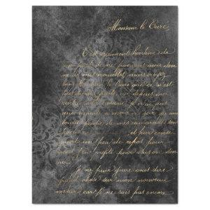 Gold French Script on Distressed Grey Decoupage Tissue Paper